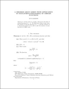 A Theorem about Limits with Application to MacLaurin's
